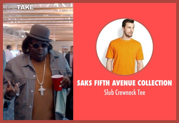 Saks Fifth Avenue Collection orange tee from Top Five seen with Cedric The Entertainer (Jazzy Dee)