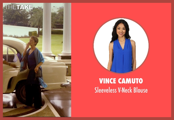Vince Camuto blue blouse from The Second Best Exotic Marigold Hotel seen with Celia Imrie (Madge Hardcastle)