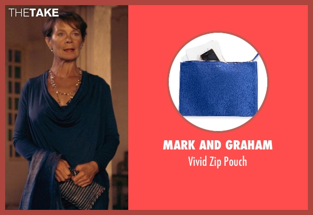 Mark and Graham blue pouch from The Second Best Exotic Marigold Hotel seen with Celia Imrie (Madge Hardcastle)