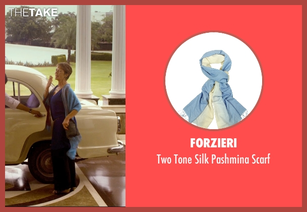 Forzieri blue scarf from The Second Best Exotic Marigold Hotel seen with Celia Imrie (Madge Hardcastle)