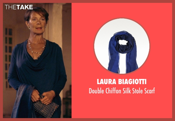 Laura Biagiotti blue scarf from The Second Best Exotic Marigold Hotel seen with Celia Imrie (Madge Hardcastle)
