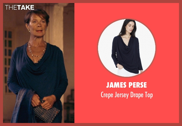 James Perse blue top from The Second Best Exotic Marigold Hotel seen with Celia Imrie (Madge Hardcastle)