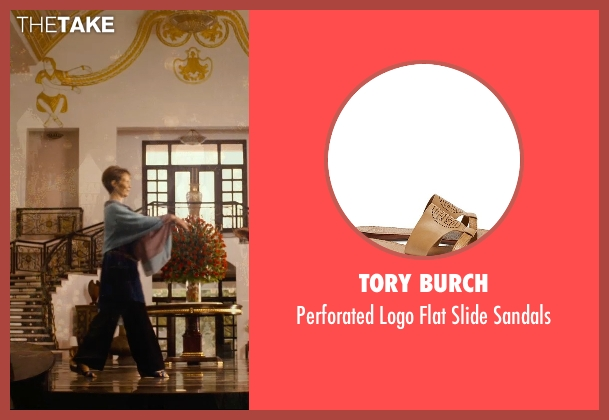 Tory Burch brown sandals from The Second Best Exotic Marigold Hotel seen with Celia Imrie (Madge Hardcastle)