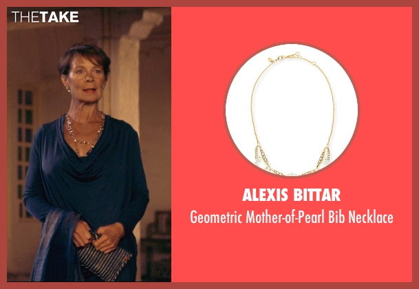 Alexis Bittar gold necklace from The Second Best Exotic Marigold Hotel seen with Celia Imrie (Madge Hardcastle)