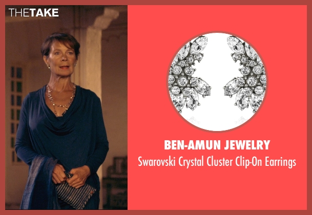 Ben-Amun Jewelry white earrings from The Second Best Exotic Marigold Hotel seen with Celia Imrie (Madge Hardcastle)