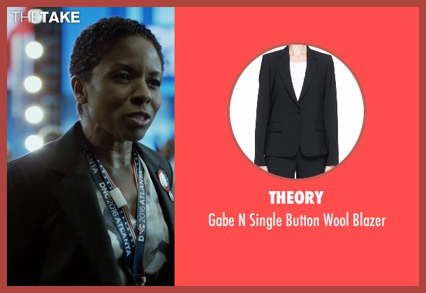 Theory black blazer from House of Cards seen with Celia Jones (LisaGay Hamilton)