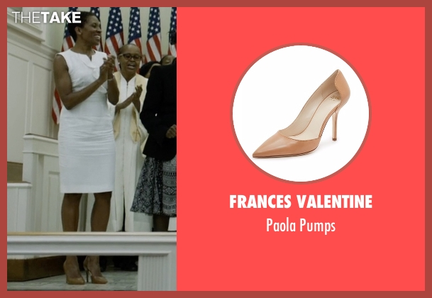 Frances Valentine brown pumps from House of Cards seen with Celia Jones (LisaGay Hamilton)