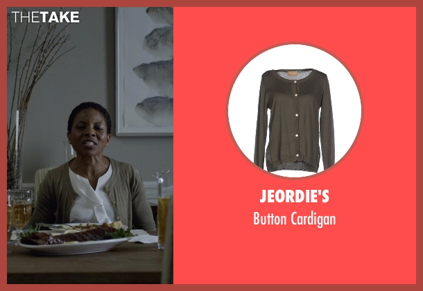 Jeordie's green cardigan from House of Cards seen with Celia Jones (LisaGay Hamilton)