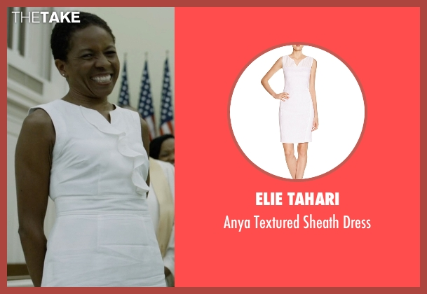 Elie Tahari white dress from House of Cards seen with Celia Jones (LisaGay Hamilton)