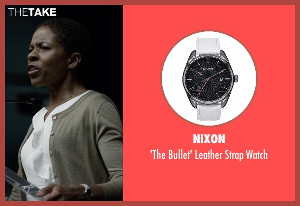Nixon white watch from House of Cards seen with Celia Jones (LisaGay Hamilton)