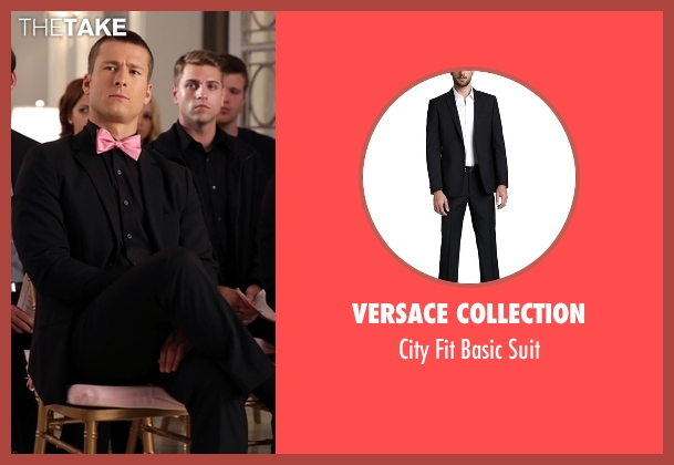 Versace Collection black suit from Scream Queens seen with Chad Radwell (Glen Powell)