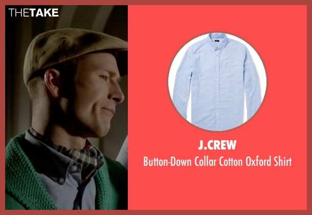 J.Crew blue shirt from Scream Queens seen with Chad Radwell (Glen Powell)