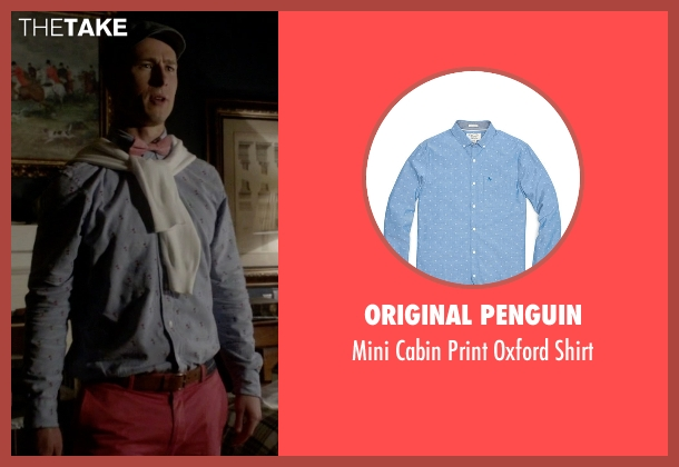 Original Penguin blue shirt from Scream Queens seen with Chad Radwell (Glen Powell)