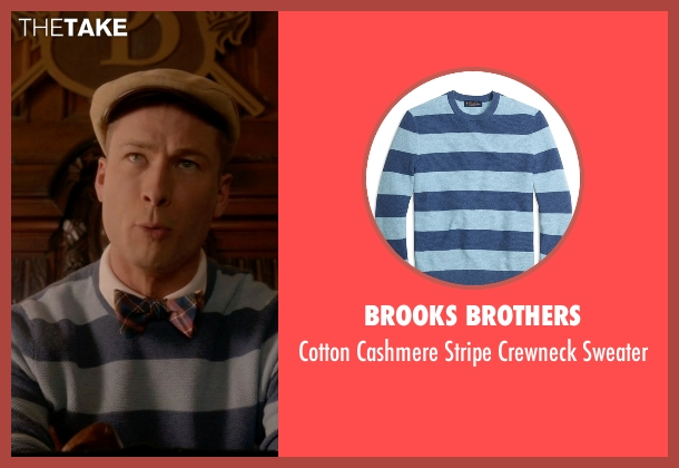 Brooks Brothers blue sweater from Scream Queens seen with Chad Radwell (Glen Powell)