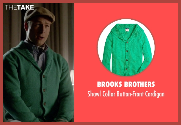 Brooks Brothers green cardigan from Scream Queens seen with Chad Radwell (Glen Powell)