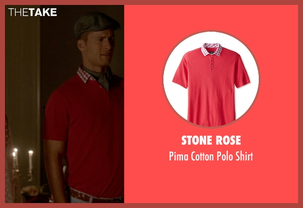 Stone Rose red shirt from Scream Queens seen with Chad Radwell (Glen Powell)