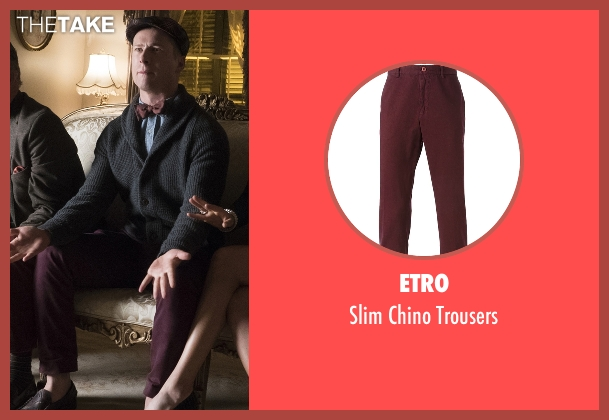 Etro red trousers from Scream Queens seen with Chad Radwell (Glen Powell)