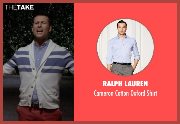 Ralph Lauren blue shirt from Scream Queens seen with Chad (Glen Powell)