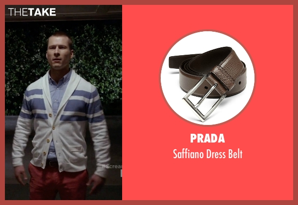 Prada brown belt from Scream Queens seen with Chad (Glen Powell)