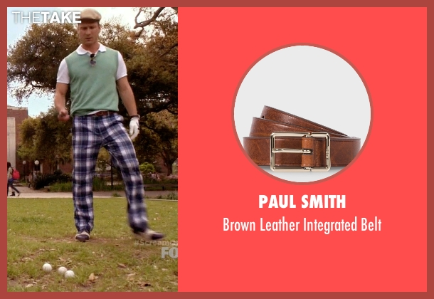 Paul Smith brown belt from Scream Queens seen with Chad (Glen Powell)