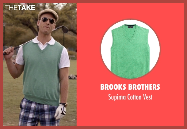 Brooks Brothers green vest from Scream Queens seen with Chad (Glen Powell)