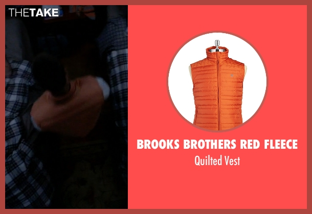 Brooks Brothers Red Fleece orange vest from Scream Queens seen with Chad (Glen Powell)