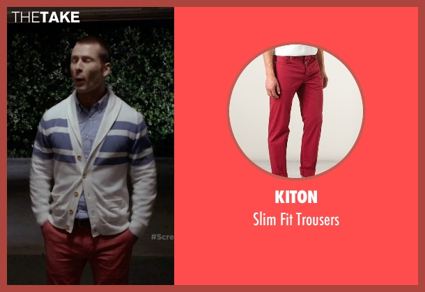 Kiton red trousers from Scream Queens seen with Chad (Glen Powell)