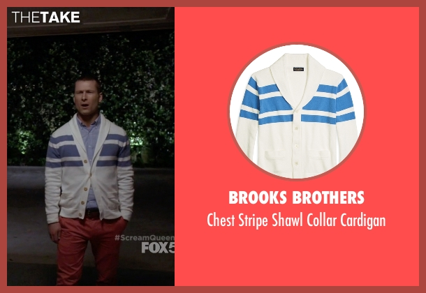 Brooks Brothers white cardigan from Scream Queens seen with Chad (Glen Powell)
