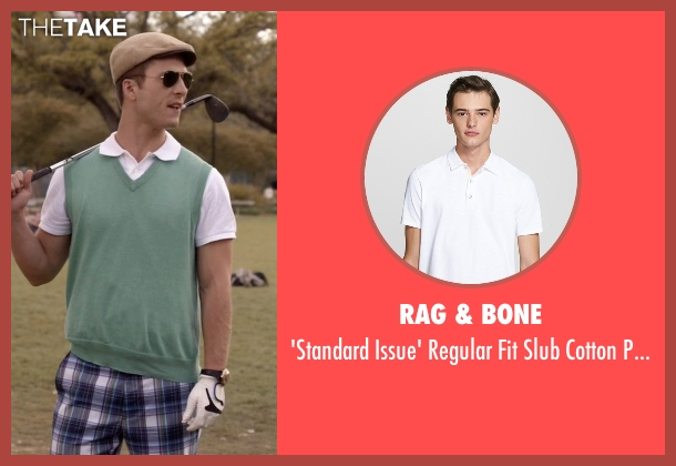 Rag & Bone white polo from Scream Queens seen with Chad (Glen Powell)