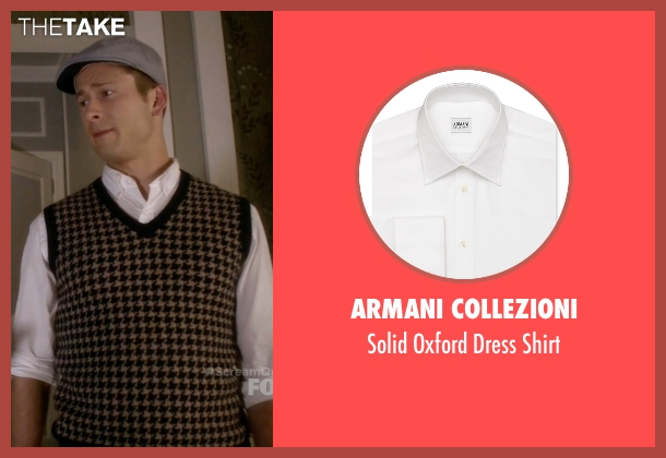 Armani Collezioni white shirt from Scream Queens seen with Chad (Glen Powell)