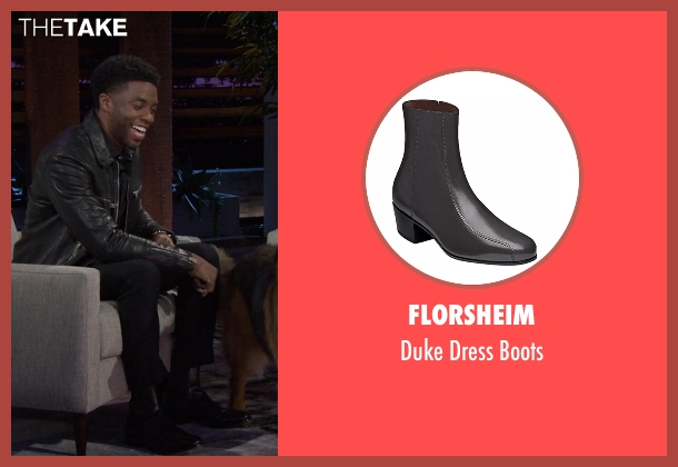 Florsheim black boots from Chelsea seen with Chadwick Boseman