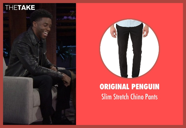 Original Penguin black pants from Chelsea seen with Chadwick Boseman