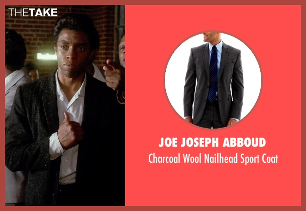 JOE Joseph Abboud black coat from Get On Up seen with Chadwick Boseman (James Brown)