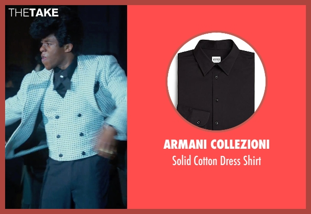 Armani Collezioni black shirt from Get On Up seen with Chadwick Boseman (James Brown)