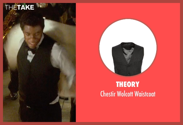 Theory black waistcoat from Get On Up seen with Chadwick Boseman (James Brown)