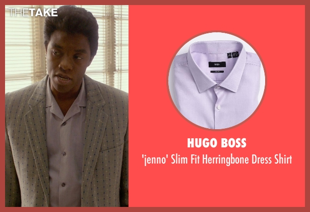 Hugo Boss purple shirt from Get On Up seen with Chadwick Boseman (James Brown)