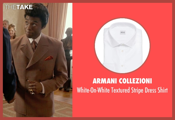 Armani Collezioni white shirt from Get On Up seen with Chadwick Boseman (James Brown)