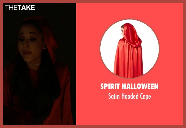 Spirit Halloween red cape from Scream Queens seen with Chanel #2 (Ariana Grande)