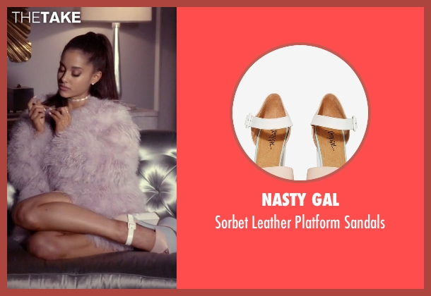 Nasty Gal white sandals from Scream Queens seen with Chanel #2 (Ariana Grande)