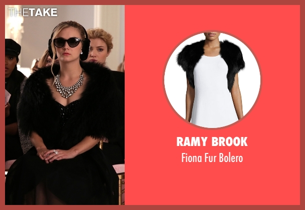 Ramy Brook black bolero from Scream Queens seen with Chanel #3 (Billie Lourd)