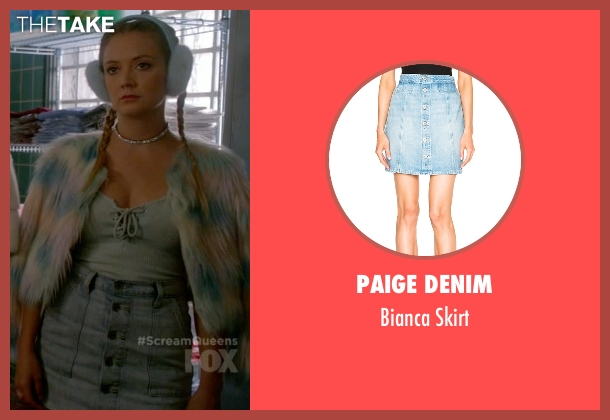 Paige Denim blue skirt from Scream Queens seen with Chanel #3 (Billie Lourd)