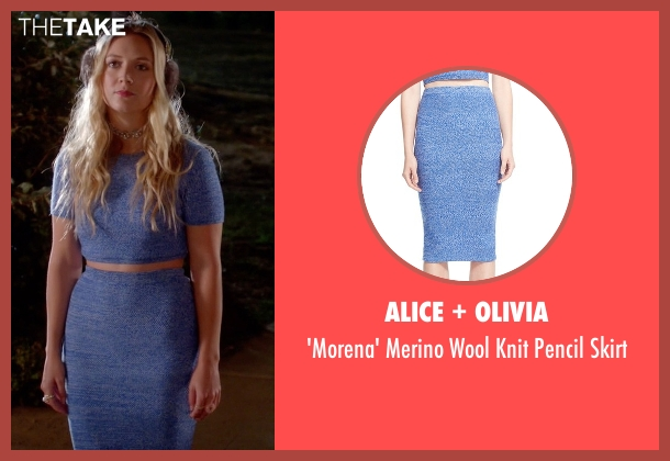 Alice + Olivia blue skirt from Scream Queens seen with Chanel #3 (Billie Lourd)