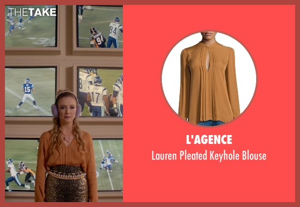 L'Agence brown blouse from Scream Queens seen with Chanel #3 (Billie Lourd)