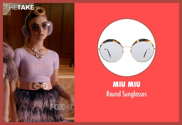Miu Miu brown sunglasses from Scream Queens seen with Chanel #3 (Billie Lourd)