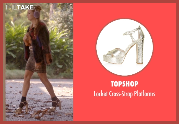 Topshop gold platforms from Scream Queens seen with Chanel #3 (Billie Lourd)