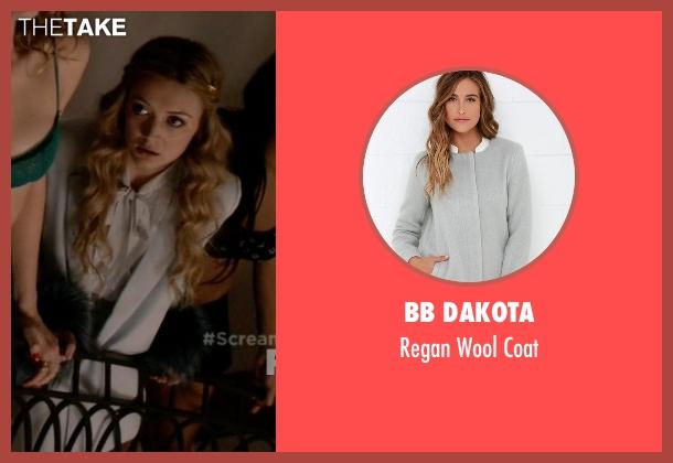 BB Dakota gray coat from Scream Queens seen with Chanel #3 (Billie Lourd)