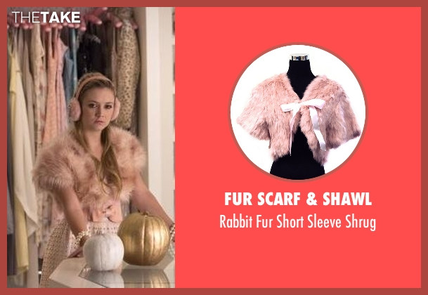 Fur Scarf & Shawl pink shrug from Scream Queens seen with Chanel #3 (Billie Lourd)