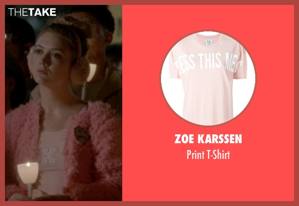 Zoe Karssen pink t-shirt from Scream Queens seen with Chanel #3 (Billie Lourd)