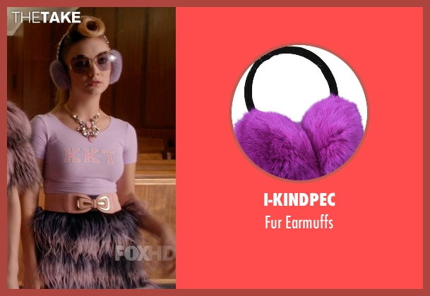 I-Kindpec purple earmuffs from Scream Queens seen with Chanel #3 (Billie Lourd)