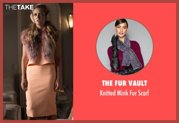 The Fur Vault purple scarf from Scream Queens seen with Chanel #3 (Billie Lourd)